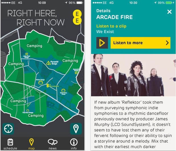 EE app Glastonbury 2014
