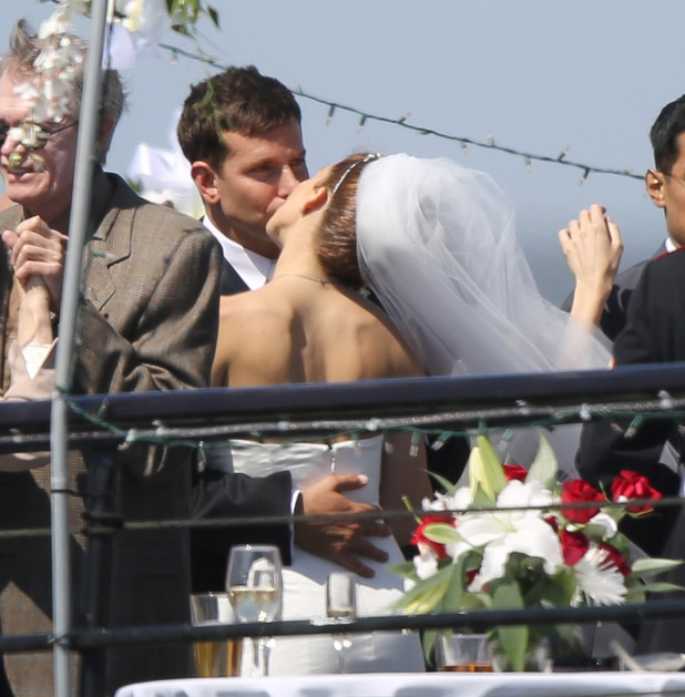 LOS ANGELES, CA - MAY 30: Bradley Cooper and Sienna Miller film a wedding scene for 'American Sniper' on May 30, 2014 in Los Angeles, California. (Photo by Bauer-Griffin/GC Images)