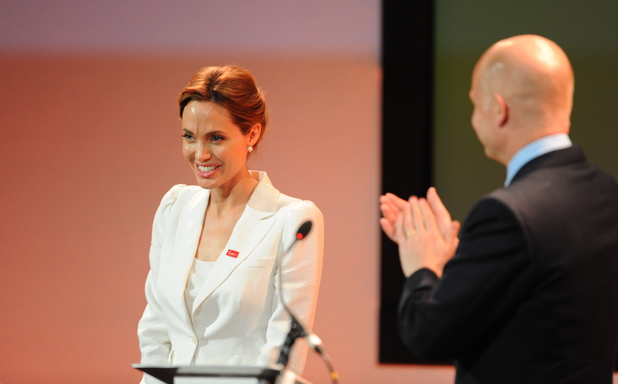 LONDON, UNITED KINGDOM - JUNE 10: Angelina Jolie and William Hague attends the Global Summit to end Sexual Violence in Conflict at ExCel on June 10, 2014 in London, England. (Photo by Eamonn McCormack/WireImage)