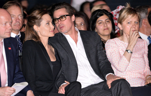 Brad Pitt and Angelina Jolie at the Global Summit to end Sexual Violence in Conflict at ExCel, London