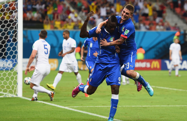 Mario Balotelli celebrates his goal during the opening Group D match of the 2014 World Cup between England and Italy at Arena Amazonia on June 14,