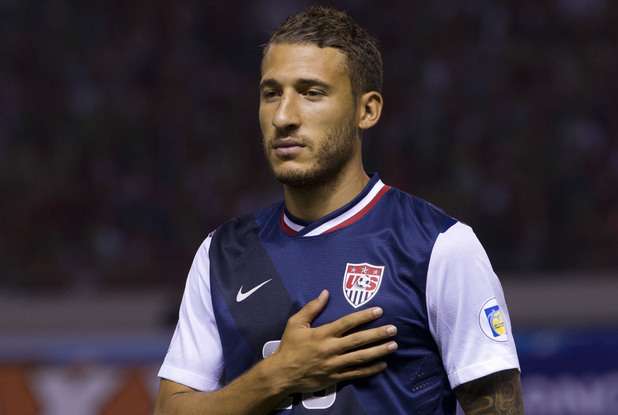 United States' Fabian Johnson prior to a 2014 World Cup qualifying soccer match against Costa Rica in San Jose, Costa Rica, Friday, Sept. 6, 2013. (AP Photo/Moises Castillo)