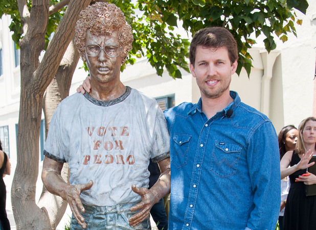 Jon Heder attends the Naopelon Dynamite 10th anniversary statue unveiling at The Fox Studio Lot in California