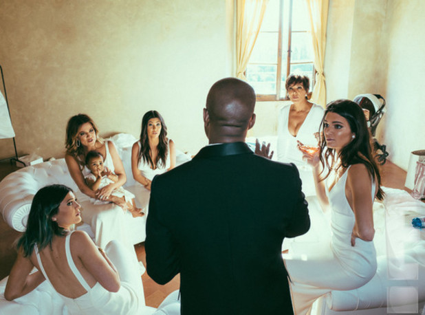 Kanye West & Kim Kardashian on their wedding day with North