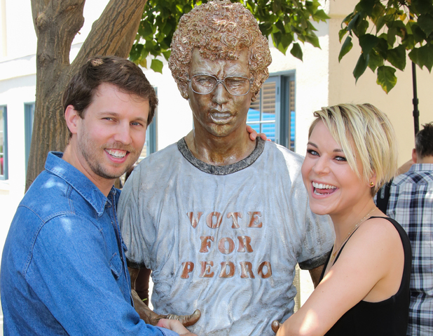 Jon Heder & Tina Majorino attend the Naopelon Dynamite 10th anniversary statue unveiling at The Fox Studio Lot in California