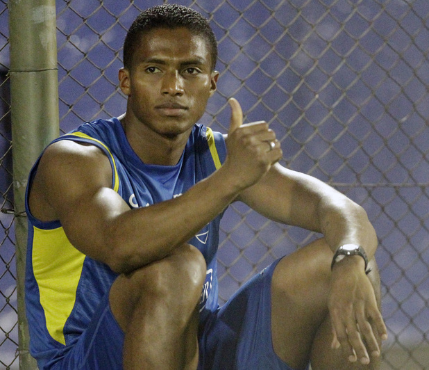 Ecuador's Antonio Valencia gestures to the press before a practice session in Asuncion, Paraguay, Wednesday Nov. 9, 2011. Ecuador will face Paraguay on Friday at a World Cup Qualifying soccer match in Asuncion. (AP Photo Jorge Saenz)