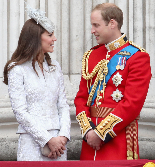 Catherine, Duchess of Cambridge and Prince William, Duke of Cambridge on the balcony during Trooping the Colour