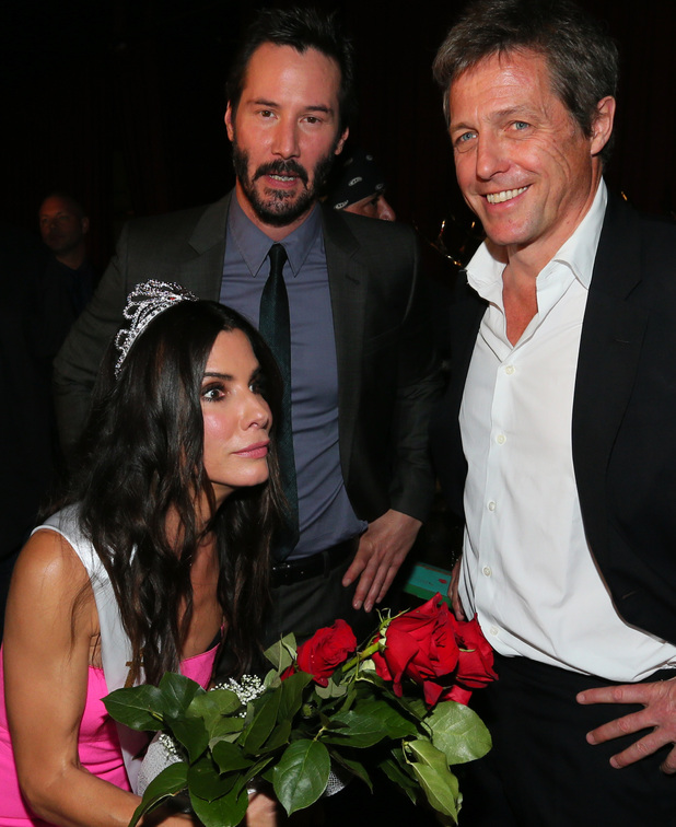 CULVER CITY, CA - JUNE 07: Actors Sandra Bullock, Keanu Reeves, and Hugh Grant attend Spike TV's 'Guys Choice 2014' at Sony Pictures Studios on June 7, 2014 in Culver City, California. (Photo by Mark Davis/WireImage for Spike TV)