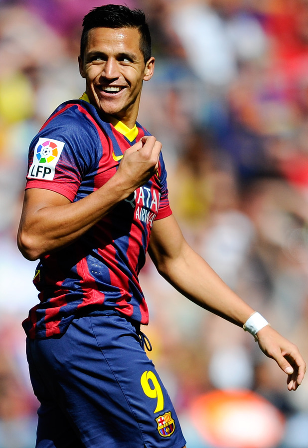 BARCELONA, SPAIN - MAY 03: Alexis Sanchez of FC Barcelona reacts during the La Liga match between FC Barcelona and Getafe CF at Nou Camp on May 3, 2014 in Barcelona, Spain. (Photo by David Ramos/Getty Images)