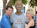 Jon Heder, castmates and a llama appear at the Fox lot in LA to celebrate 10 years.