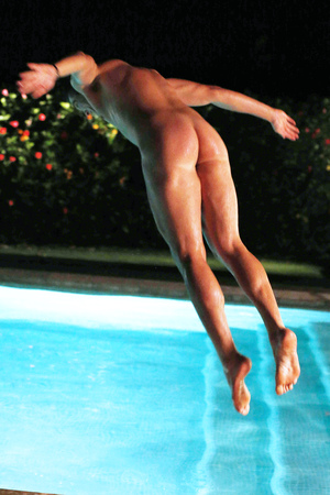'The Only Way Is Essex' cast at the 'boys villa', Marbella, Spain - Jun 2014 Lewis Bloor naked in the swimming pool 11 Jun 2014
