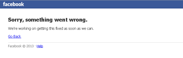 Facebook crash, June 19, 2014 (screengrab)
