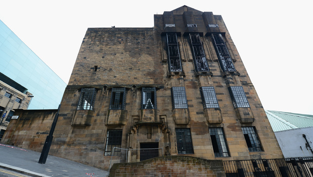 The damaged Mackintosh Building at the Glasgow School of Art