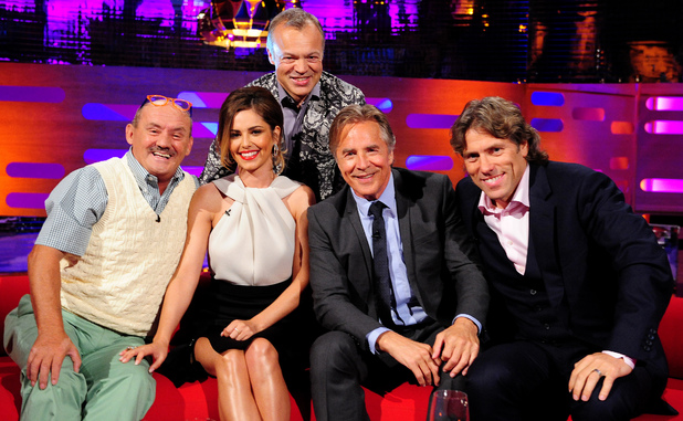 Brendan O'Carroll, Cheryl Cole, Graham Norton, Don Johnson and John Bishop on The Graham Norton show