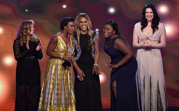 Natasha Lyonne, Uzo Aduba, Laverne Cox, Danielle Brooks, and Laura Prepon accept the Best Comedy Series award for 'Orange is the New Black' onstage during the 4th Annual Critics' Choice Television Awards