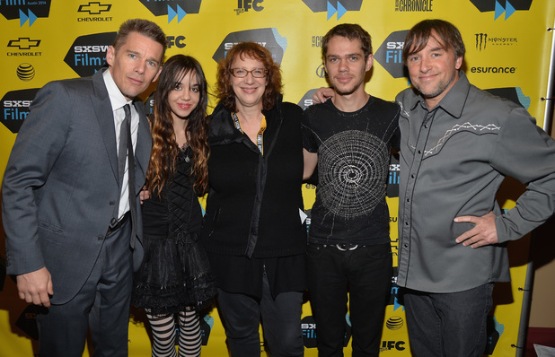 Ethan Hawke, Lorelei Linklater, Janet Pierson, Ellar Coltrane & Richard Linklater at the premiere of Boyhood at the 2014 SXSW Festival