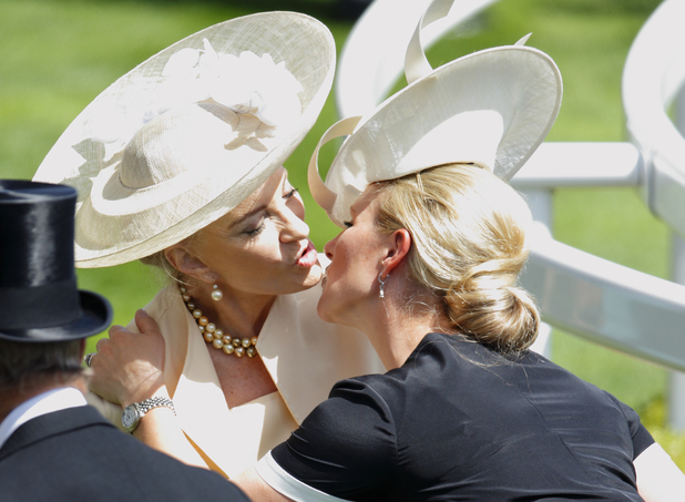 ASCOT, UNITED KINGDOM - JUNE 17: (EMBARGOED FOR PUBLICATION IN UK NEWSPAPERS UNTIL 48 HOURS AFTER CREATE DATE AND TIME) Zara Phillips kisses Princess Michael of Kent as they attend Day 1 of Royal Ascot at Ascot Racecourse on June 17, 2014 in Ascot, England. (Photo by Max Mumby/Indigo/Getty Images)