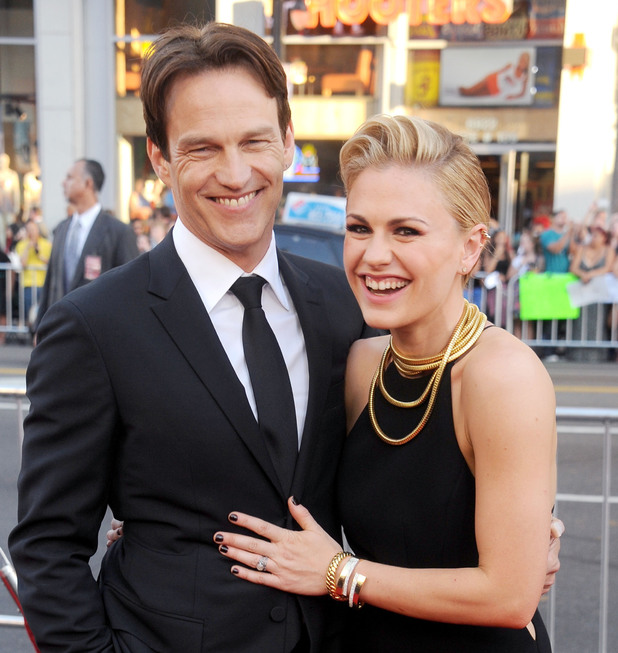 HOLLYWOOD, CA - JUNE 17: Actors Anna Paquin and Stephen Moyer arrive at HBO's 'True Blood' final season premiere at TCL Chinese Theatre on June 17, 2014 in Hollywood, California. (Photo by Gregg DeGuire/WireImage)