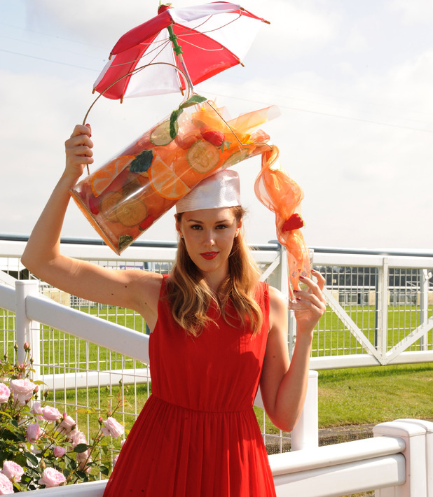 A model with a Pimms hat