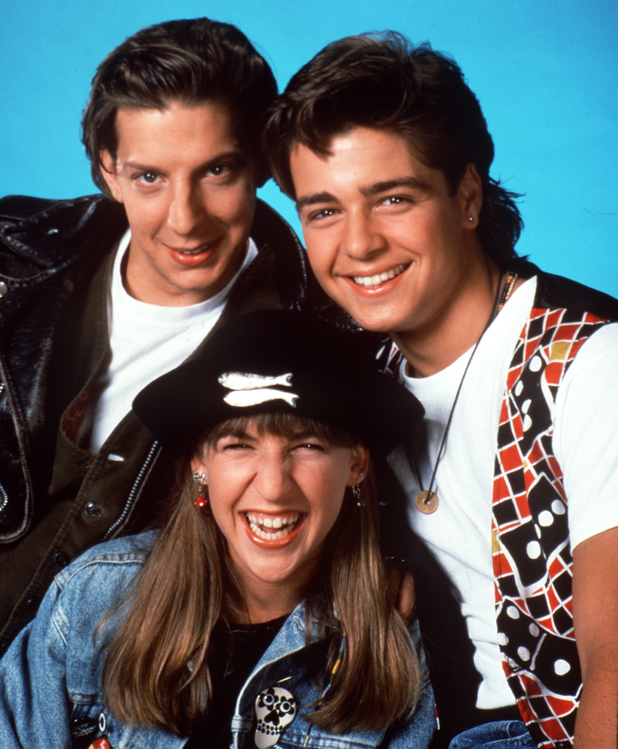 UNITED STATES - JANUARY 03: BLOSSOM - Season One - 1/3/91, Mayim Bialik (center) played teen-ager Blossom Russo, who shared a home with her divorced dad, Nick, and two brothers, Anthony (Michael Stoyanov, left) and Joey (Joey Lawrence). , (Photo by Touchstone Pictures/ABC via Getty Images)