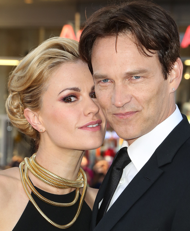 HOLLYWOOD, CA - JUNE 17: Actors Anna Paquin (L) and Stephen Moyer arrive at HBO's 'True Blood' final season premiere at TCL Chinese Theatre on June 17, 2014 in Hollywood, California. (Photo by Chelsea Lauren/WireImage)