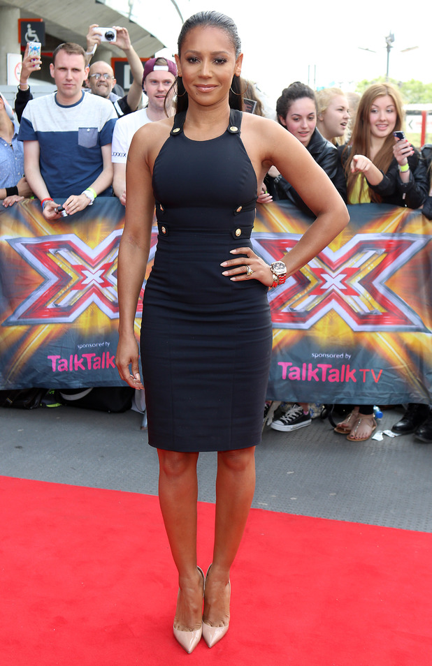 Mel B arrives for the London Auditions of X Factor at Emirates Stadium