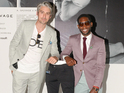 George Lamb models the A Sauvage-designed trousers that can charge smartphones.