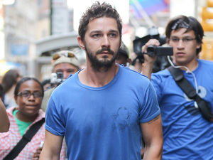 "Shia LaBeouf walking home after spending the night in jail in New York for being allegedly disorderly while at the ""Cabaret"" show in NY."