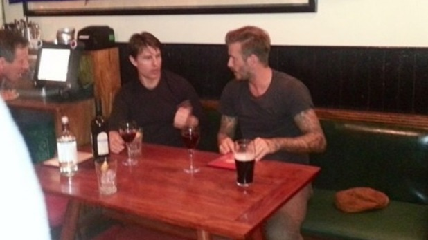 David Beckham and Tom Cruise at a London pub