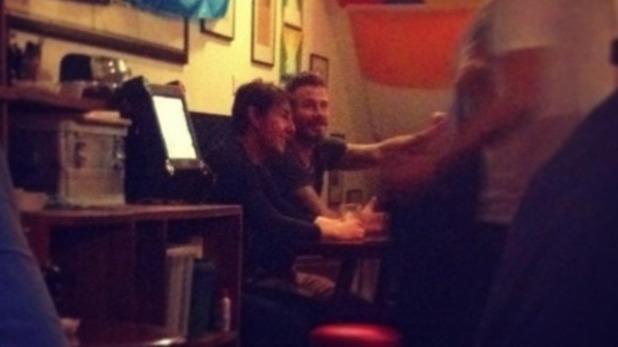David Beckham and Tom Cruise at a London pub