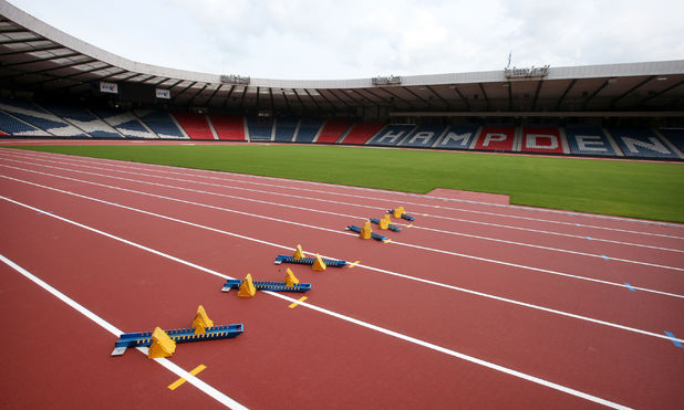 A general view of the track at Hampden Park stadium, Glasgow where the Commonwealth Games will take place