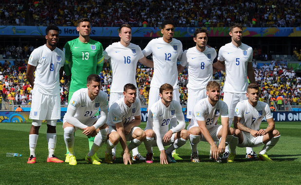 England pose for a team photograph prior to the 2014 FIFA World Cup Brazil Group D match between Costa Rica and England