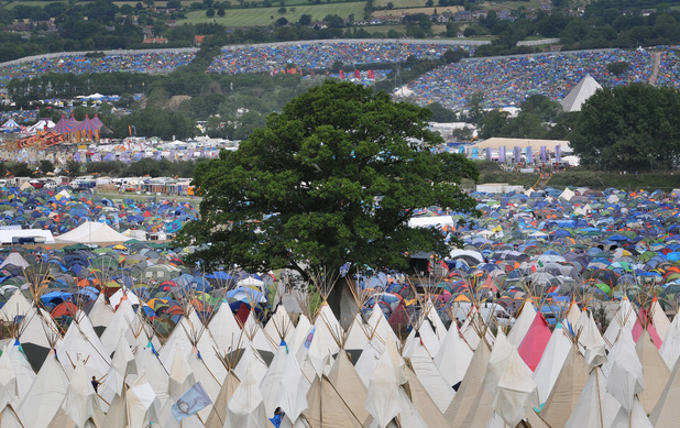 A view over the Glastonbury Festival campsite at Worthy Farm