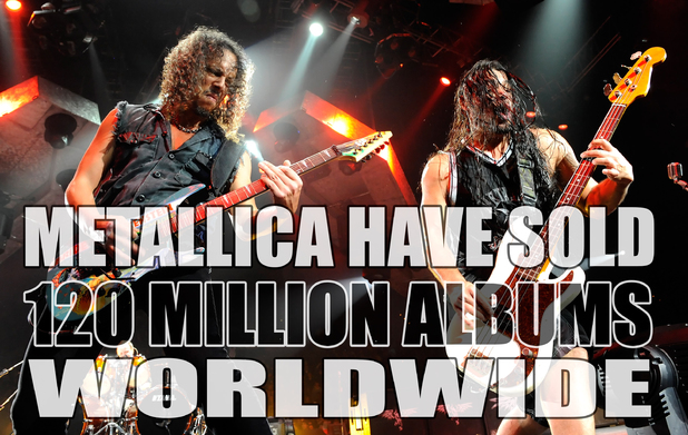 Metallica worldwide album sales fact card.