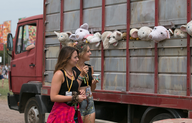 Banksy's 'The Sirens of the Lambs' sculpture depicting a truck full of shrieking cuddly animals being driven to slaughter