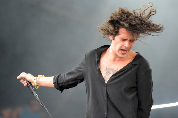 Matthew Healy of The 1975 performs on the Pyramid stage