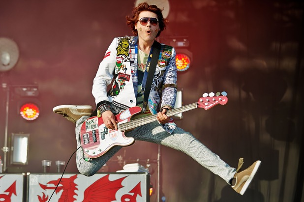 Nicky Wire of Manic Street Preachers performs on Day 2 of the Glastonbury Festival