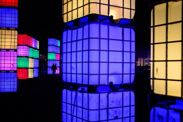 The colourful light sculptures come into their own as night falls