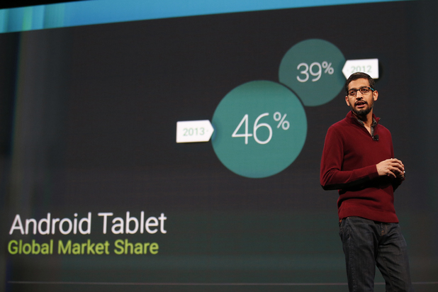 Sundar Pichai, Senior Vice President, Android, Chrome & Apps speaks on stage during the Google I/O Developers Conference