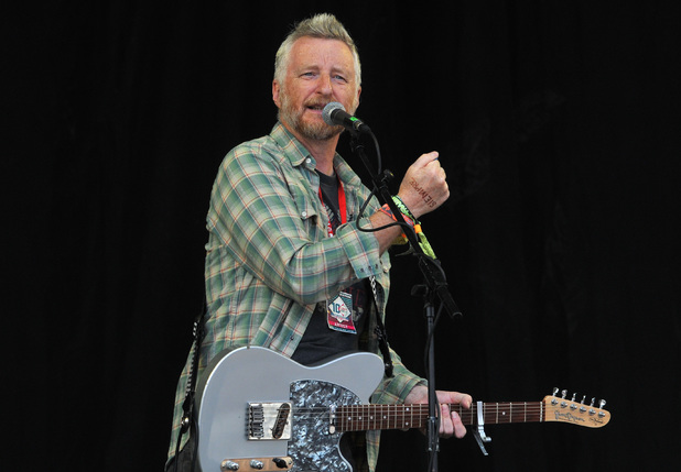 Billy Bragg performs on the Pyramid stage
