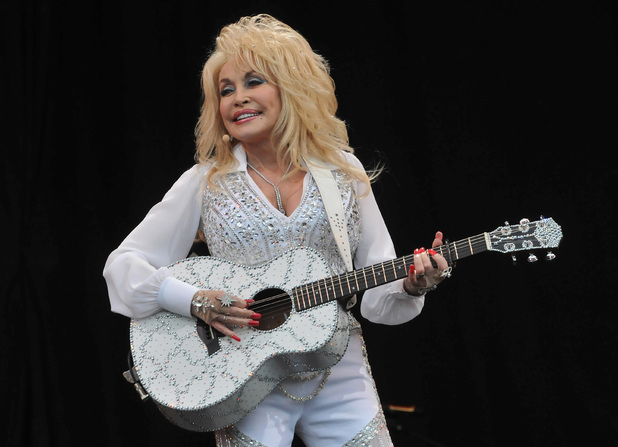 Dolly Parton performs on the Pyramid stage during day three of the Glastonbury Festival