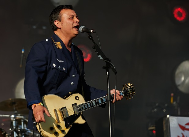 James Dean Bradfield of Manic Street Preachers performs on Day 2 of the Glastonbury Festival