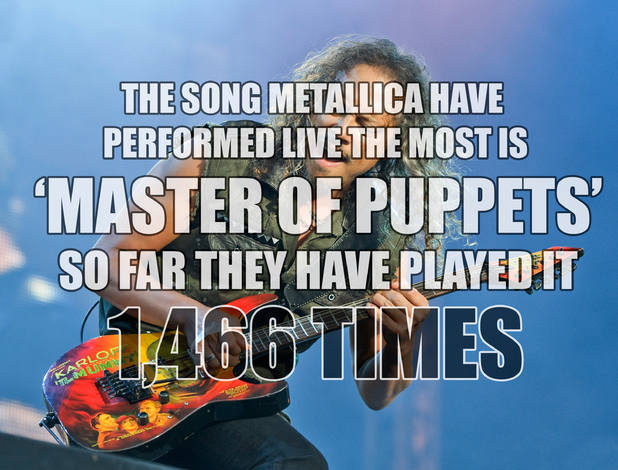 Metallica 'Masters of Puppets' fact card.