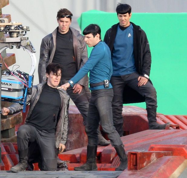 Untitled Star Trek sequel film set, Los Angeles, America - 21 Feb 2012 Fight scene between Zachary Quinto (as Spock) and Benedict Cumberbatch, with their stunt doubles standing behind 21 Feb 2012