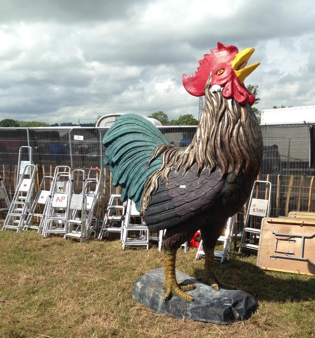 Glastonbury 2014 cock statue.
