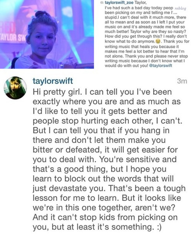 Taylor Swift consoles a fan on Instagram
