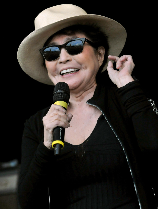 Yoko Ono of the Plastic Ono Band performs on the Park stage during day three of the Glastonbury Festival