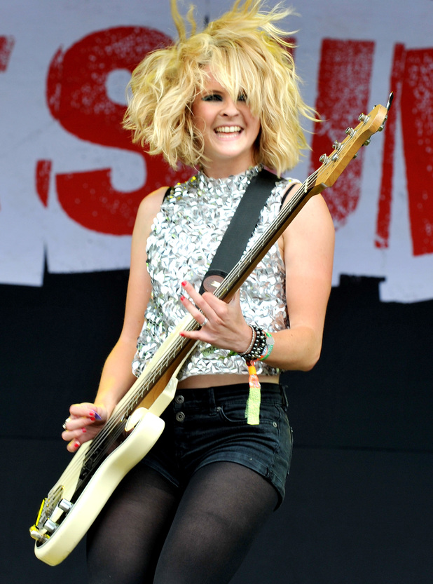 Charlotte Cooper of The Subways performs on Day 3 of the Glastonbury Festival