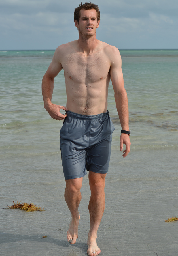 KEY BISCAYNE, FL - MARCH 31: Andy Murray takes a swim in the sea after winning Sony Tennis Open 2013 on March 31, 2013 in Key Biscayne, Florida. (Photo by Uri Schanker/FilmMagic)