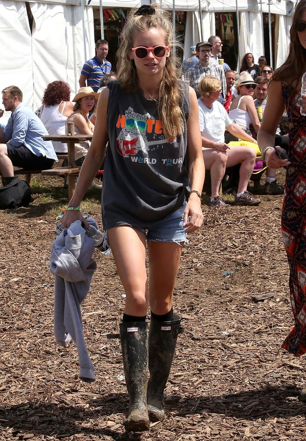 Cressida Bonas on the final day of Glastonbury Festival